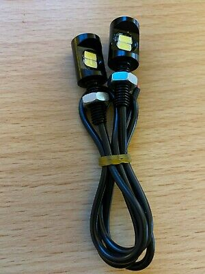 Two Universal Motorbike + Car Led Rear Number Plate Light Bolts .