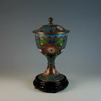 Old Chinese Cloisonne Champleve Covered Urn Box with Stand