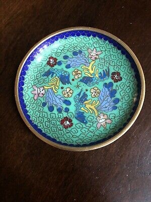 Antique Chinese Cloisonne Champleve Enamel Small Dish Floral Plate 4""