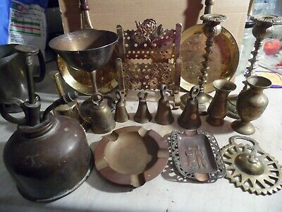Job Lot Brass Ornaments Bells, Ash Trays, Antiques Early 1900s For Pub / Resale