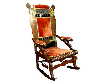 Antique Rocking Chair, Victorian Walnut Rocker, 19th C. ( 1800s ), Handsome