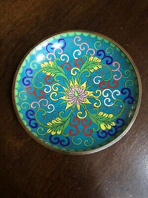 Antique Chinese Cloisonne Champleve Enamel Small Dish Floral Plate 4.5""