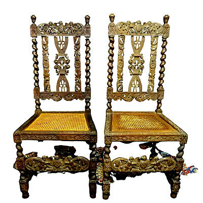 Chairs, Side Carved Renaissance Style, A Pair of Caned Chairs, Gorgeous Antiques