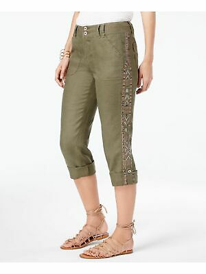 INC $90 Womens New 1403 Green Sequined Embroidered Casual Pants 6 B+B