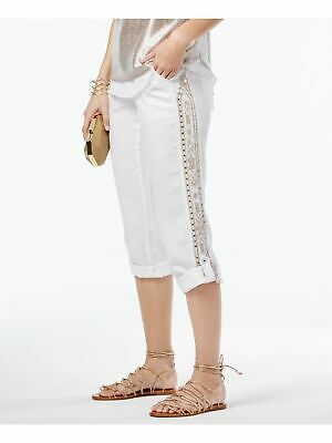 INC Womens White Sequined Embroidered Cuffed Casual Pants 14