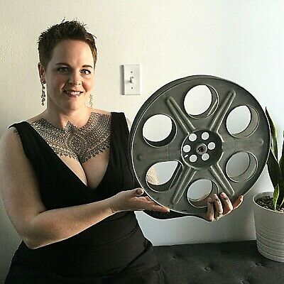 "14.5""  metal 35mm film movie reel Theater room wall decoration man cave cine Vtg"