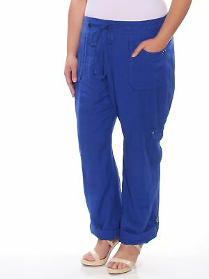 INC Womens Blue Regular Fit Straight leg Casual Pants Regular Size: 18