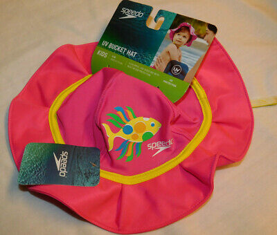 Speedo Bucket Baby Sun Hat Kids L//XL Pink with UV 50 protect NWT With Chinstr