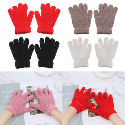 Lovely Baby Boys Girls Candy Color Coral Plush Mittens Kids Gloves Full Fingers