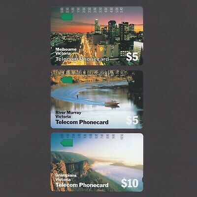 MINT 1990 Unused Telecom set of 3 Victoria Australia Phonecards prefix 27 29 46