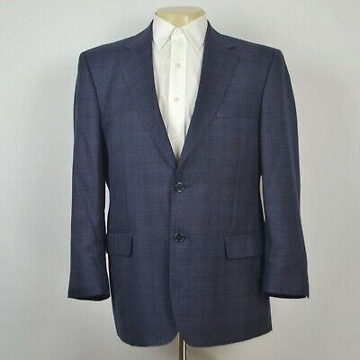 JOS A BANK Signature GOLD Silk Wool Navy Plaid Two Button Sport Coat Sz 42S