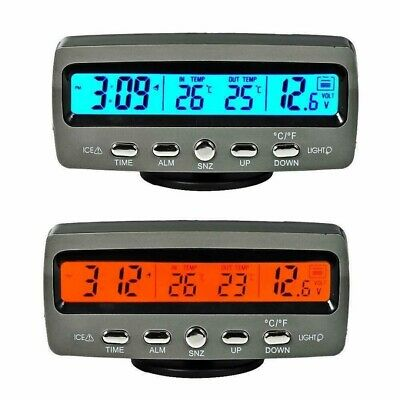 4-in-1 12V Auto Car Digital LED Voltmeter Clock Interior/Exterior Thermometer US