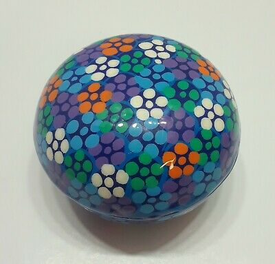 RED CLAY HAND PAINTED POTTERY ROUND TRINKET BOX with lid; Colorful DOTS