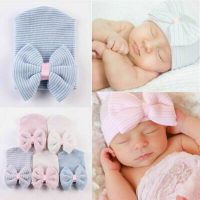 Baby Girls Infant Striped Soft Hat with Bow Knot Cap Hospital Newborn Beanie Hat