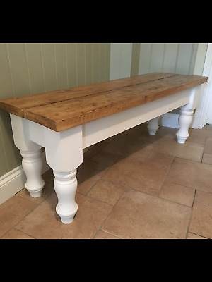 4 5 6 7 8 ft Solid Pine Reclaimed Timber Top Bench  Farmhouse Kitchen Settle