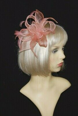 Elegant Pink Sinamay Loops & Feathers Fascinator  on Hair Clip.
