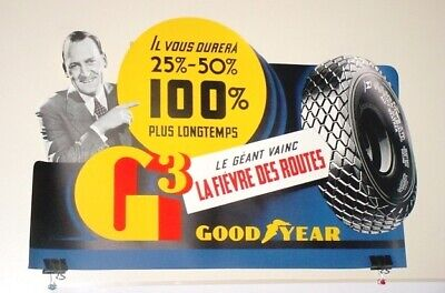Vint 1930s GOODYEAR TIRES G3 Die Cut Showroom Adv Poster French Unused Old Stock