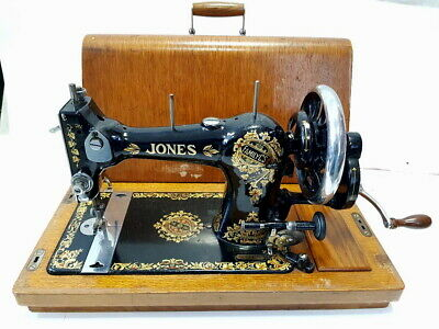 TOP ESPECTACULAR antigua maquina de coser JONES de flores 1914 no singer