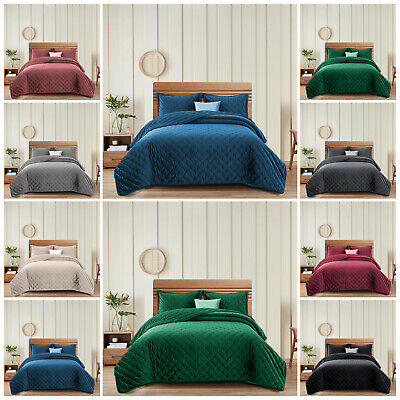Luxury Crushed Velvet Bedding Sets Quilted Bedspread Bed Throw Double King Size