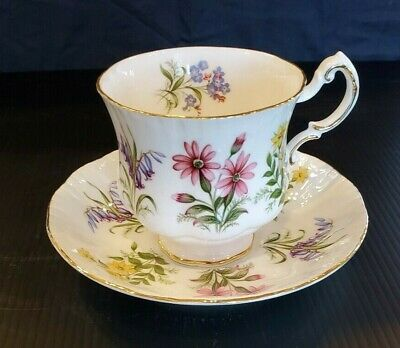 "Vintage PARAGON Bone China Tea Cup & Saucer  ""English Flowers""  Made in England"