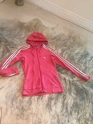 Adidas Size Small Pink Zip Up Jacket With Hood