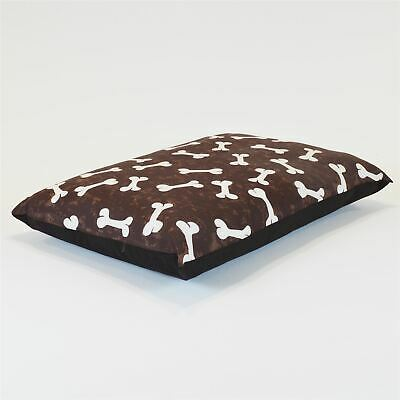 Medium Size Dog Bed - Washable cover Clearance - Bones (Brown Medium)