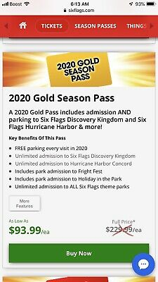 (2) 2020 Gold Season Passes to Six Flags Discovery Kingdom