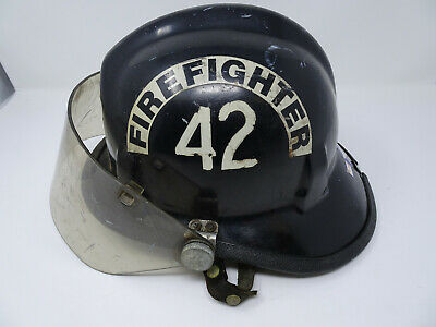 Vintage Cairns & Brother 770 Black Firemans Fire Helmet With Face Shield
