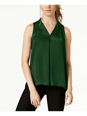 VINCE CAMUTO $59 Womens New Green Inverted-Pleat Top  2XS B+B