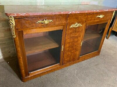 Antique French Burr Walnut Marble Top Side Cabinet .Delivery Available Most Area