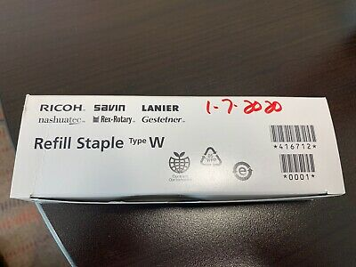 RICOH Refill Staple Type W 416712 Four Cartridges in box.