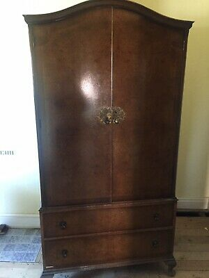 Denby & Spinks Gentlemans Antique Vintage Wardrobe Walnut Veneer Shabby Chic