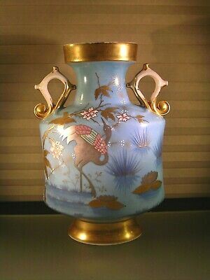 Antique Porcelain Aesthetic Movement Vase w Crane Flowers Vines