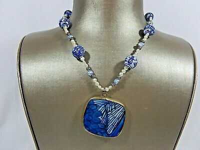 Chinese 925 Sterling Hand Painted Porcelain Bead Pearl & Large Pendant Necklace
