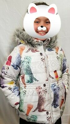 LIMITED TOO Winter Jacket Coat W/ Cats & Ice Cream Faux Fur Youth Girls M 10 12