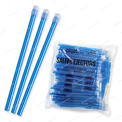 1000 (10 Bags) Blue Clear Dental Saliva Ejectors Ejector Disposable Suction Tips