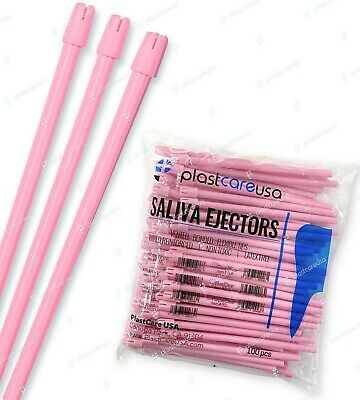 2000 Pink Dental Saliva Ejectors Ejector Disposable Suction Tips (20 Bags)