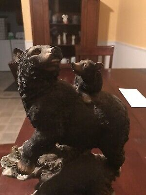 Collectible Black Bear On Rocks With Two Cubs Statue Cute Sculpture Beautiful