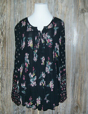 Style & Co. Black Floral Peasant Top Womens Size M Medium