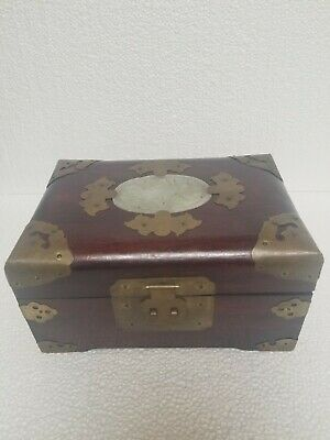 Vtg Shanghai Chinese Wooden Jewelry Box  Brass Mounted with Carved  Stone Plaque