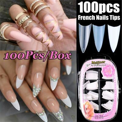 DIY French Stiletto Manicure False Nail Tips Ballerina Coffin Nails Fake Nails