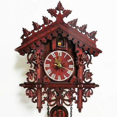 Antique Handcraft Wood Cuckoo Wall Clock Swing Pendant Hanging For Home Decor