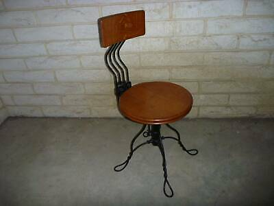 Vintage Industrial Telephone Op Chair  A H Andrews Chicago Twisted Cast Office