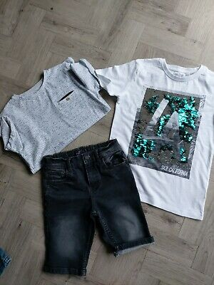Next Boys Denim Shorts And T Shirt Bundle Age 7+ Yrs Worn Once In Pristine...
