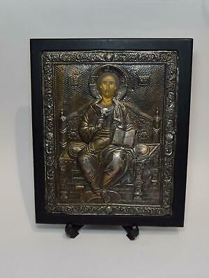 Vintage Sterling Silver Large JESUS Fine Quality Russian Greek Icon