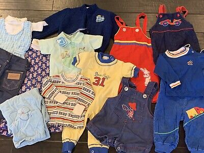 Vtg Lot Baby Boy 50s - 80s Clothes Overalls Infant Embroidered 0 3 6 9 Months