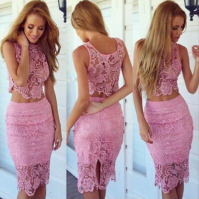 Women Sexy Sleeveless Lace Stitching 2sets Top+Skirt Cocktail Party Dress Summer