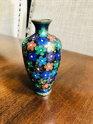 """China Old Cloisonne Collectable Hand Carved Flower Mini Vase 5"""""""