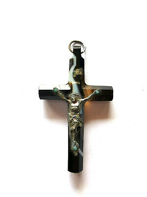 French Silver & Agate Cross Crucifix Antique Pendant Christianity