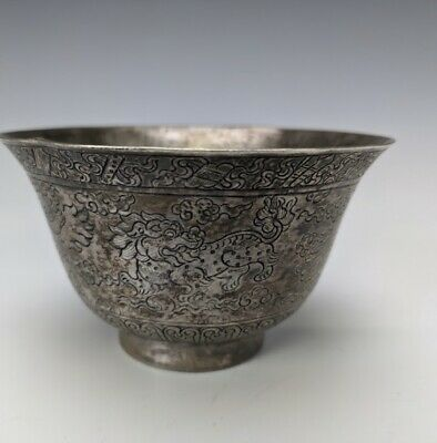 Unique Antique Old Chinese Tibetan Imperial Dragon Silver Porcelain Ceramic Cup